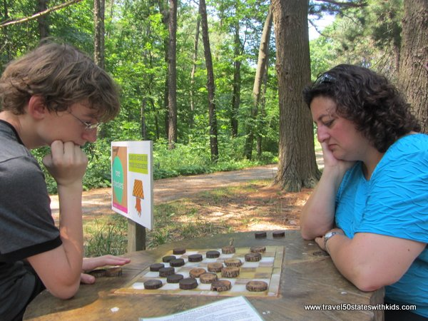 Playing checkers at Holden Arboretum