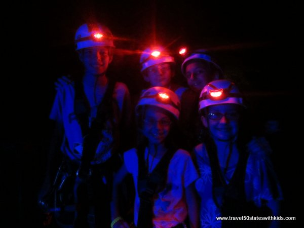 Zip lining in the dark at Louisville MEGA Cavern
