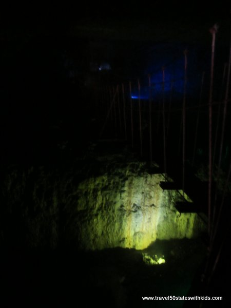 Louisville MEGA Cavern - rope bridge in the dark