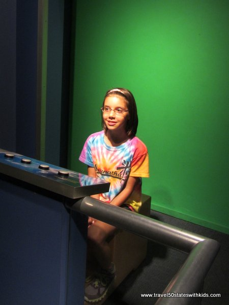 Recording a weather forecast at Kentucky Science Center