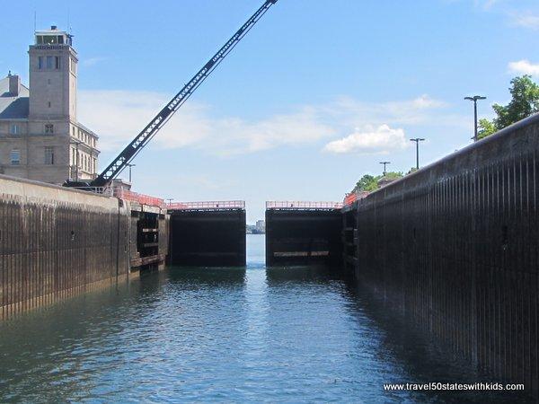 Gates closing at the Soo Locks