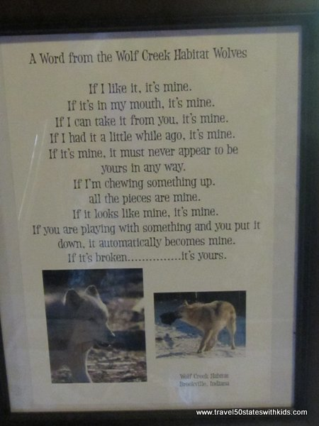 Letter from the wolves at Wolf Creek Habitat
