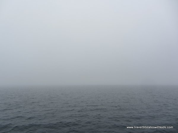 Fog on Lake Superior during Glass Bottom Shipwreck Tour
