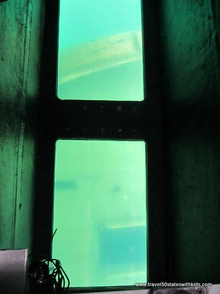 Shipwreck through windows on Glass Bottom Shipwreck Tour