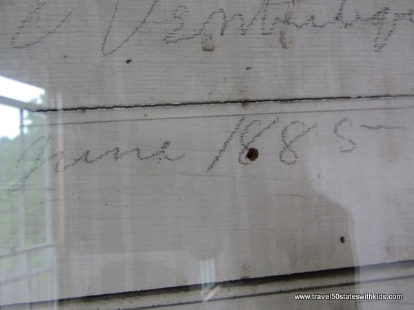 Signatures inside Town Hall at Fayette Historic Park