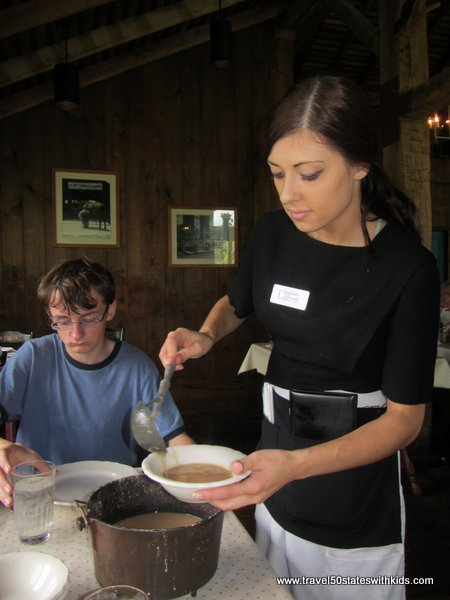 Ham and bean soup at Threshers Dinner at Amish Acres