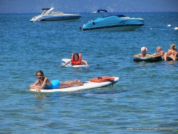 Paddle boarding at Lake Tahoe