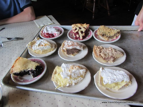Pie selection at Threshers Dinner at Amish Acres