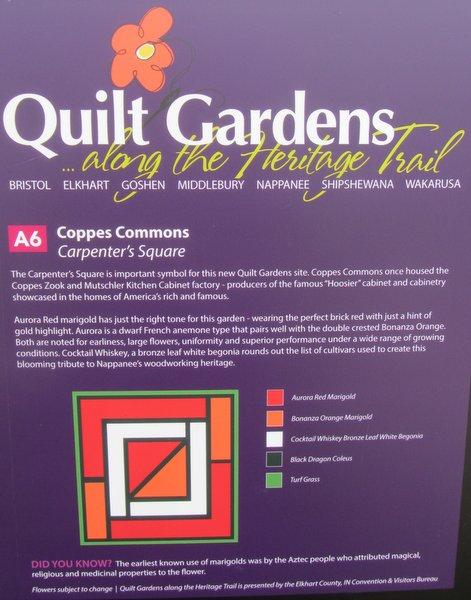 Quilt Gardens sign - Carpenter's Square