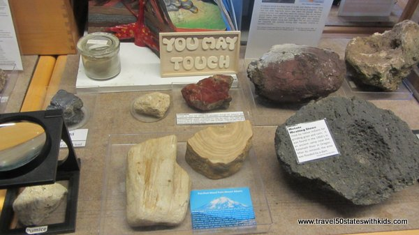 Rock exhibit at Forest Learning Center at Mount St. Helens