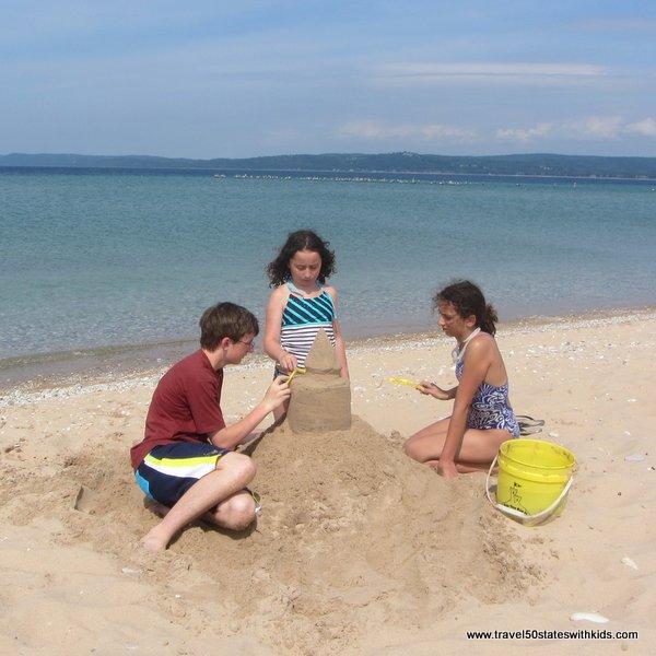 Sand castle at Glen Haven Beach at Sleeping Bear Dunes
