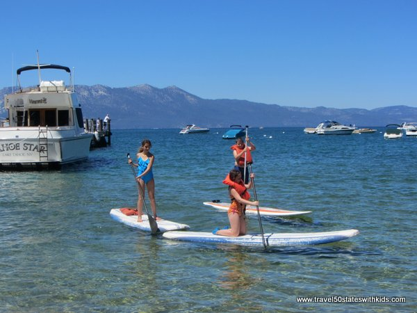 Stand up paddleboarding at Round Hill Pines Lake Tahoe