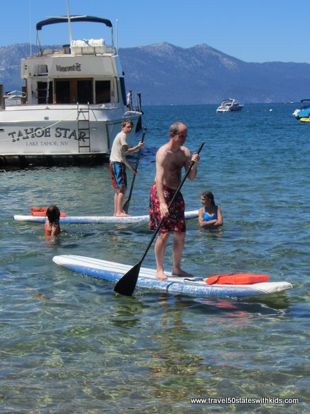 Stand up paddleboarding on Lake Tahoe at Round Hill Pines Beach and Marina
