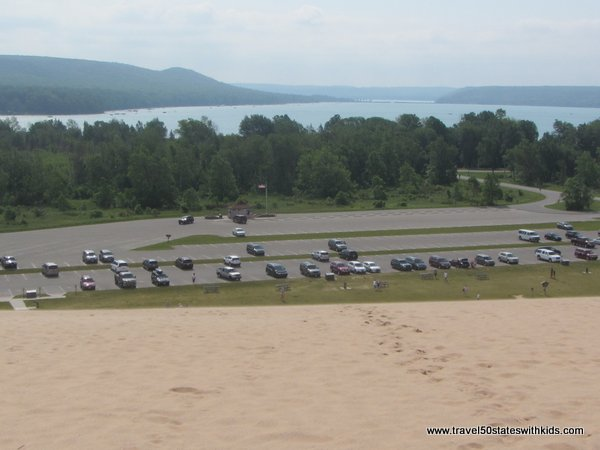 View from the top of the dune at Sleeping Bear Dunes Dune Climb