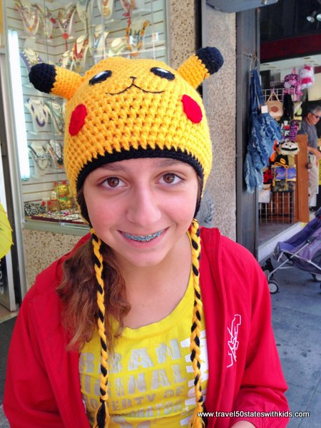 Crocheted Pokemon hat in Chinatown