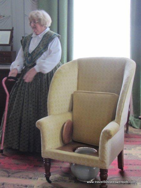 Upholstered chamber pot chair
