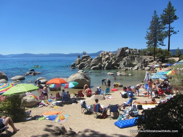 Crowded beach at Sand Harbor