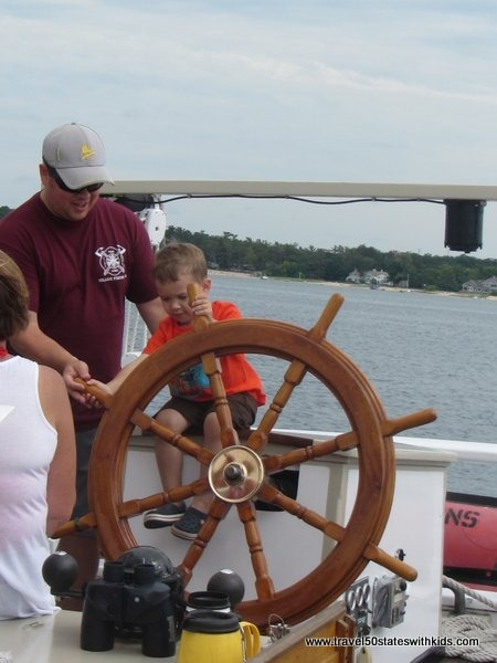 Kids get to steer the Tall Ship Manitou