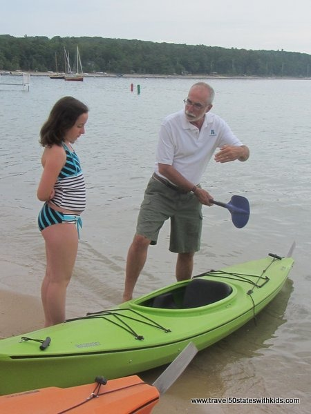 Learning to kayak at Haserot Beach - Traverse City
