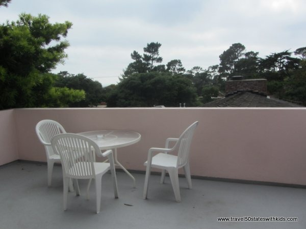 Patio area at the Hofsas House Hotel in Carmel