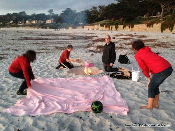 Preparing for a bonfire on Carmel Beach