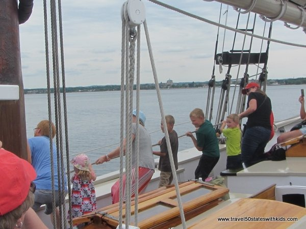 Raising the sails on the Tall Ship Manitou