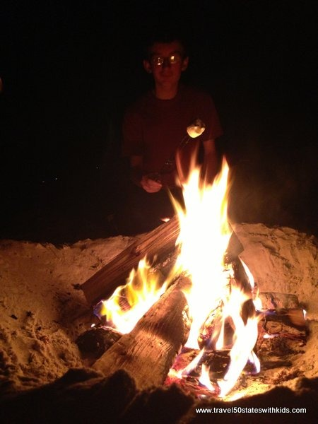Roasting marshmallows at Carmel Beach