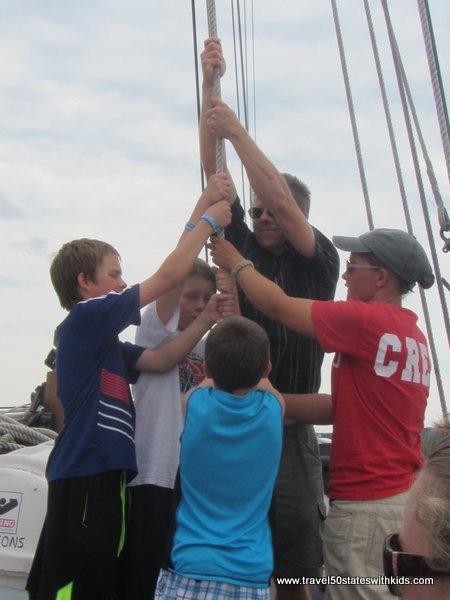 Sail raising on the Tall Ship Manitou
