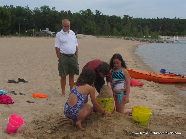 Sand castle building at Haserot Beach- Traverse City Michigan