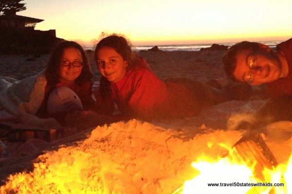 Sunset and fire at Carmel Beach
