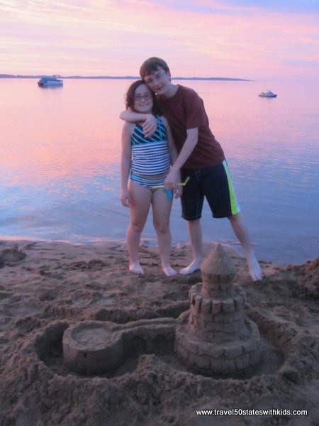 Traverse City Sand castle at sunset