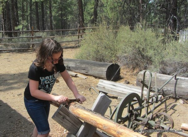 Living History - log prep at the 1904 Sawmill