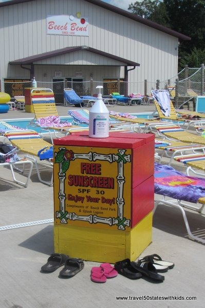 Free sunscreen at Beech Bend Park