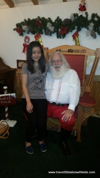 Meeting Santa for the first time in Santa Claus, Indiana