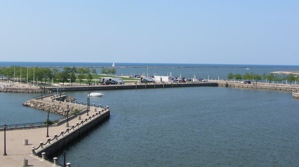 View of Lake Erie from Great Lakes Science Center