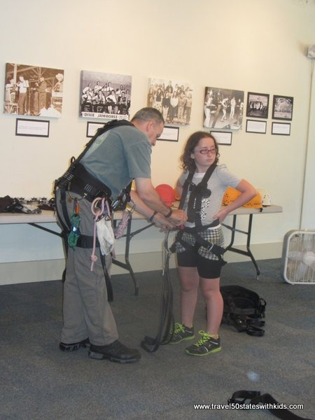 Getting harnessed at Hidden River Cave
