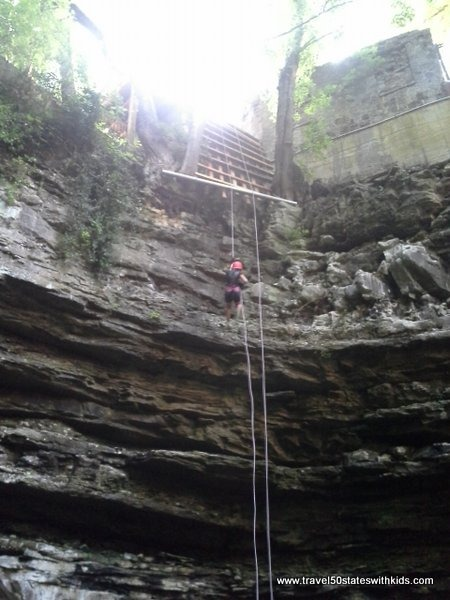 Rappelling at Hidden River Cave