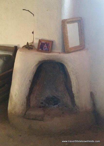 Adobe fireplace inside Taos Pueblo